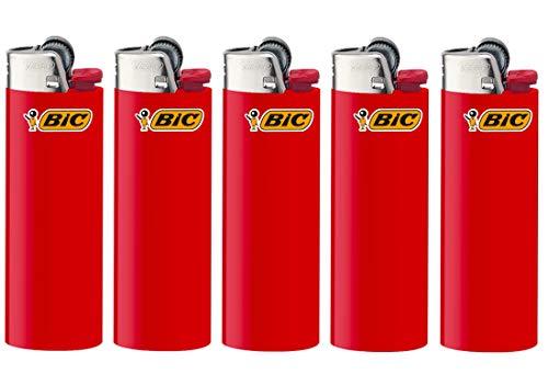All u need BIC Maxi Feuerzeuge Reibrad Lighter Neutral Flints Zündstein J26 5 Stück + Keyring Flaschenöffner (Rot)