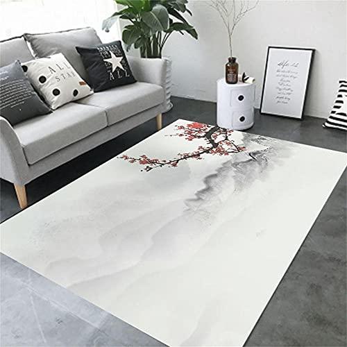 Alfombra Infantil Grande Gris Alfombra de Sala de Estar Tinta Gris Patrón Simple Oriental Retro Alfombra antidesgaste alfombras de Pasillo 40X60CM alfombras para niñas 1ft 3.7''X1ft 11.6''