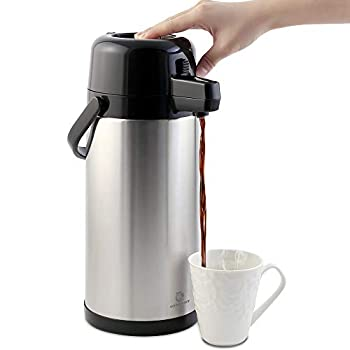 Airpot Coffee Carafe - TOMAKEIT 3L 102 Oz  Airpot Beverage Dispenser Insulated Stainless Steel Large Coffee Thermal - Pump Action Airpot for Hot/Cold Water