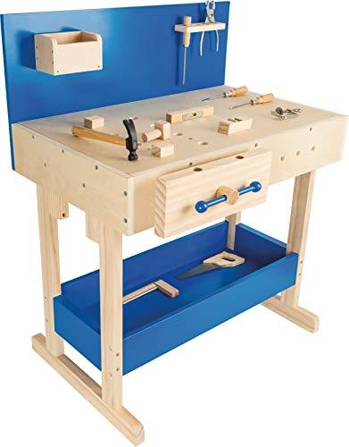 small foot 10839 Werkbank in Natur und Blau aus Holz, mit großer Arbeitsfläche und Werkzeug, ab 8 Jahren
