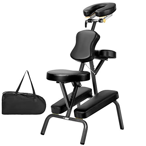 VIVOHOME Folding Massage Tattoo Chair Adjustable Face Cradle Portable Travel Spa Chair with Carrying Bag Black