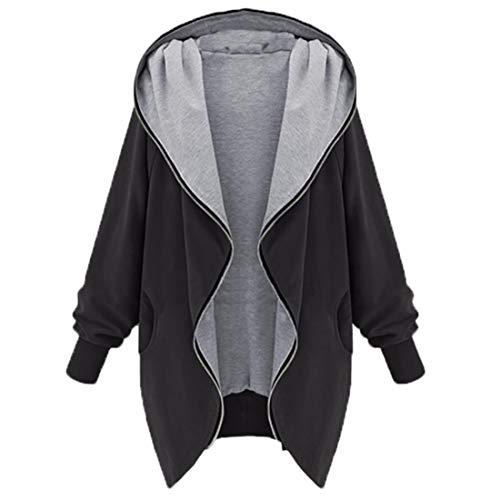 SHYY Jacke Damen Langarm Einfarbig Blazer Hoodie Cardigan Wasserfall Mantel Oversize Elegante Taschen Zip Sweatshirt Herbst Winter Mode Bequemes Einfaches All-Match Top 5XL