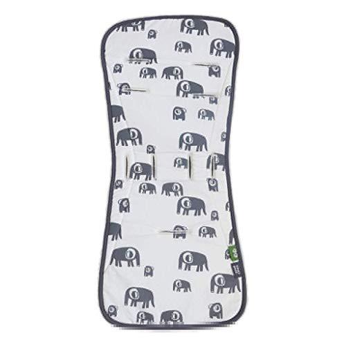 SIMPLY GOOD. Coprisedile per passeggino Coprisedile imbottito per cuscino universale imbottito per passeggino per bambino (Elefante su bianco e linee su grigio)