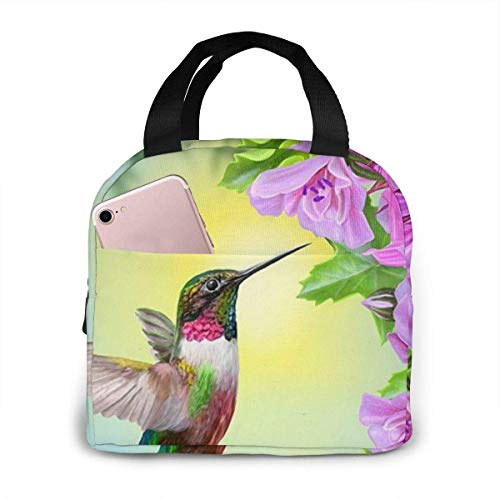 shenguang Hummingbird Bird Pink Flower Portable Lunch Bag Insulated Cooler Bag for Travel/Picnic/Work