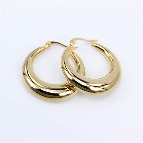 TFGUOqun Fashion Smooth exquisite large hoop earrings for women girls wedding party stainless steel jewelry for Girl, (Metal Color : Diameter 30MM)