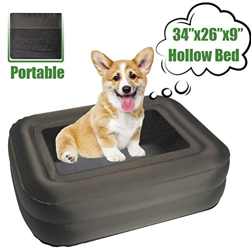 EXPAWLORER Outdoor Elevated Dog Bed - Double Thickness Adjustable Original Bed, Inflatable Pet Cot, Great for Forest Camping & Mountain Hiking, for Small Medium Pet