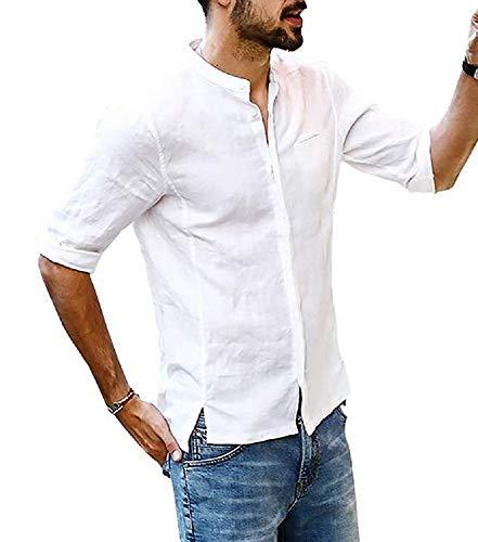 Hooleeger Herren Leinenhemd Freizeithemd Stehkragen Henley Shirt 3/4 Arm Sommer Hemd Slim Fit Brusttasche Langarmhemd,Weiß,L