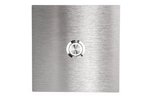 HUBER LED Klingeltaster 12811, 1-fach unterputz, quadratisch, Edelstahl 80mm x 80mm x 3mm, LED Lichtfarbe kalt weiß