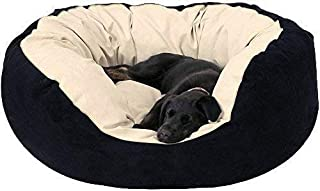 Mellifluous Small Size Cat and Dog Super Soft Pet Bed, Black-Cream