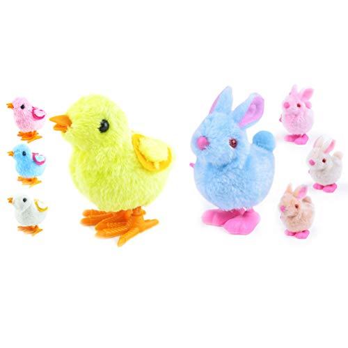 Toyvian 8 Stücke Baby Aufziehspielzeug Plüsch Küken Kaninchen Figur Aufziehtiere Aufziehfigur Dekofigur Tierfigur Weihnachten Party Geschenk für Kinder(Zufällige Farbe)