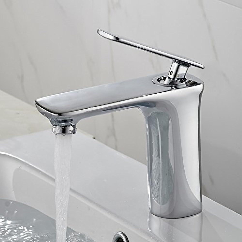 PLYY Flache Einloch Wasserhahn, Kupfer hochwertigen Becken Wasserhahn, heien und Kalten Wasserhahn