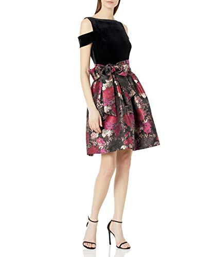 Tahari ASL Women's Astrid Party Dress, Multicoloured (Black/Red/Gold), 12 (Size:8)