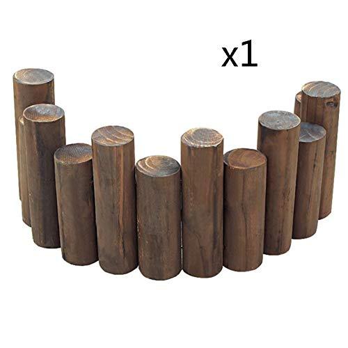 WXQIANG Gartenzaun Runde Stake Karbonisierung Holz Picket Fencing Blumenbeet Retro dekorative Reling, 8 Größen (Color : 1PC, Size : 90X20/25CM)