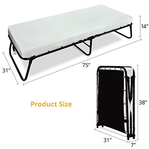Quictent Heavy Duty Folding Bed with Two Extra Support Belts, 300 lbs Max Weight Capacity, Guest Bed, Daybed with...