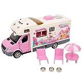 Zerodis Simulation RV-Modell Spielzeug, Happy Travel Alloy Die-Cast-Auto-Modell Spielzeug Sound und Licht Travel Toy Caravan Kinder Kleinkinder(Rosa) -