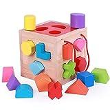 HNaGRDMMP Baby-Spielzeug-Blöcke, Hölzerne Alphabet-Blöcke, Baustein-Satz Holz-Kinder-Farberkennung Form Sorting Cube Deckel for Kleinkinder Lernen sortieren