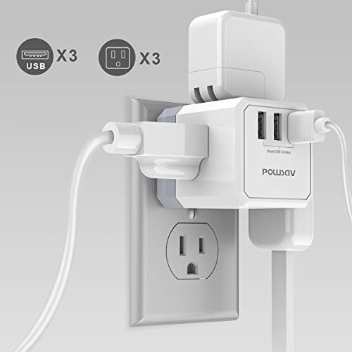 Multi Plug Outlet, Outlet expanders, POWSAV USB Wall Charger with 3 USB Ports(Smart 3.0A Total) and 3-Outlet Extender with 3 Way Splitter, No Surge Protector for Cruise Ship, Home, Office, ETL Listed