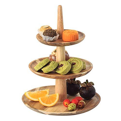 ZXvbyuff 3-Tier Acacia Etagere und Dessert Halter, Round Tiered Kuchen-Baum, Stand-Tee-Party-Servierplatte, for Obst Käse angezeigte Snacks Hochzeit