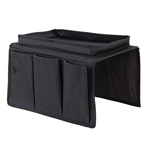 ADDFOO Sofa Armrest Organizer with 4 Pockets and Cup Holder Couch Armchair Hanging Storage Bag for TV Remote Control-Black
