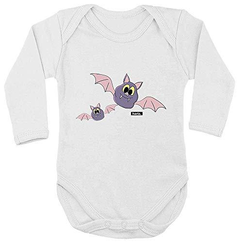 Hariz - Body de manga larga para bebé, diseño de murciélagos blanco Diente de leche blanco. Talla:62-68
