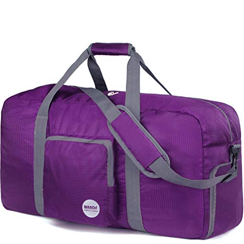 WANDF Foldable Travel Bag with Shoe Compartment Lightweight Sports Bag for Travel Gym Sport Holiday Waterproof Nylon (Morado, 60L)