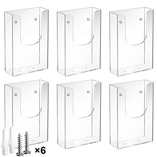 MaxGear Brochure Holder 4 x 6 inches Wall Mounted Literature Holders Clear Flyer Holder Acrylic Hanging Wall Brochure Holders, 6 Pack, Clear