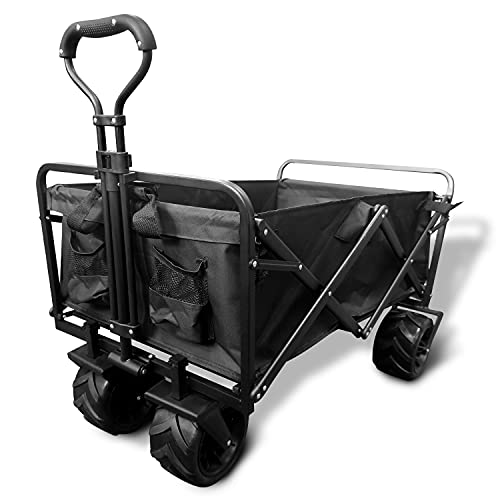 Collapsible Heavy Duty Wagon Cart Outdoor Folding Utility Camping Garden Beach Cart with Universal Wheels Adjustable Handle Shopping (Black)
