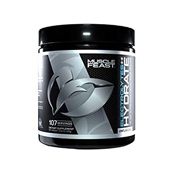 MUSCLE FEAST Hydrate Electrolyte Powder All Natural Keto Zero Calories Eliminate Muscle Cramping Made with Electrolyte Powder++TM 107 Servings  300 Gram Unflavored