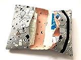Wickeltasche, Windeltasche'to go' grau, rose, Zirkus, Einhorn, Fuchs, Bär, Maus, für 3-4 Windeln und Feuchttücher - handmade - versandfertig - Geburtsgeschenk