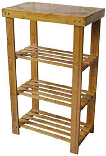 FF Eco-vriendelijke 3-laags bamboe schoenenrek Multi-functionele montage gangpad Corridor Schoenenrek Schoenenkast nachtkastje Ruimtebesparend bij hoge belasting - (80 cm 28 cm 50 cm)