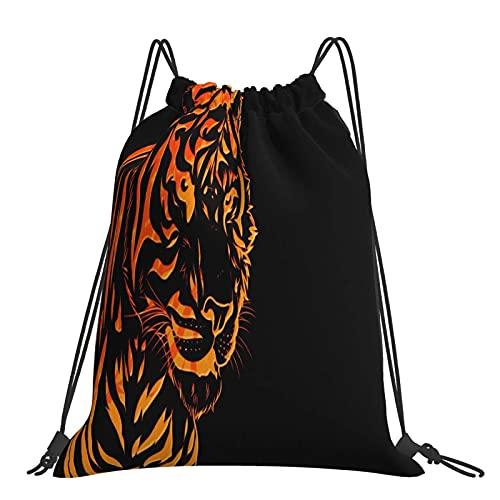 FJJLOVE Kordelzug Tasche Bright Red Tiger Head Leichter Rucksack Gym Sackpack für Wandern Gym Schwimmen Reisen