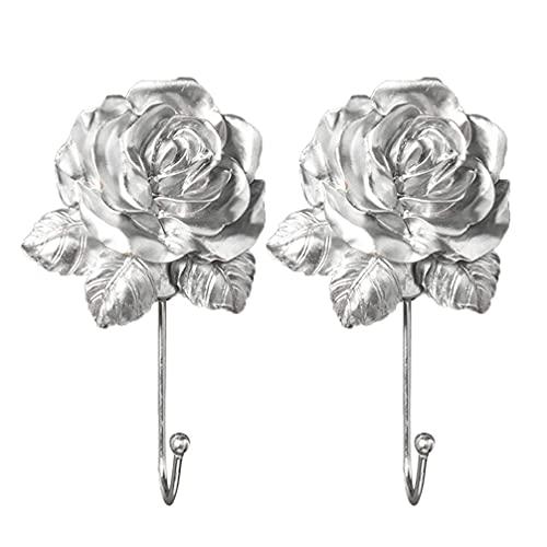 2pcs 3D Rose Flower Gancho de Pared Resina Decorativa Flor Art Colgadores de Pared Ganchos para Abrigo Organizador para Colgar Abrigo Maceta Maceta Plata