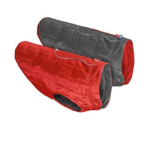 Kurgo Loftmantel für Hunde, reversible, wendbar Winterjacke für Hunde, wasserabweisende Haustierkleidung, reflektierend, leicht, mit einem Geschirr zu tragen – rot / grau, XS