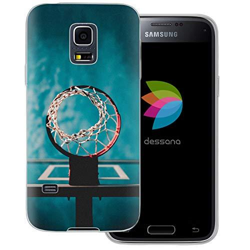 dessana - Cover trasparente per Samsung Galaxy S5 Mini, motivo: pallone da basket