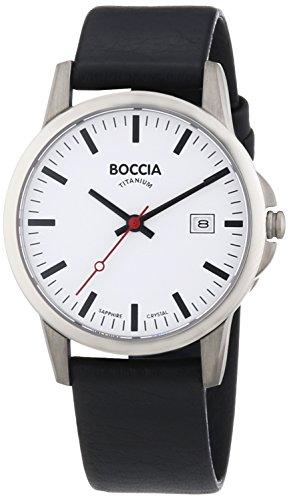 Boccia Herren-Armbanduhr XL Titanium Analog Quarz Leder 3625-05