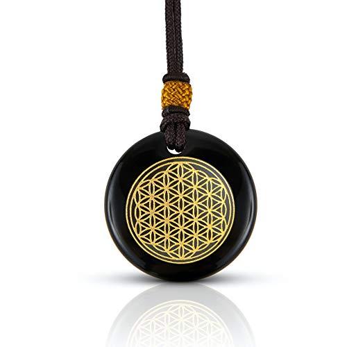 Black Obsidian Stone Necklace   Luxar   Spiritual Pendant   Flower of Life   Fabric Cord   1.57 Inch Diameter Pendant and Presentation Box