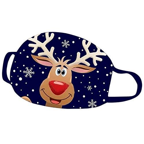 KJC 1 Stücke Weihnachts Mundschutz Tuch Erwachsene Baumwolle Waschbare Atmungsaktiv Lustig Bunt Mit Motiv Mund und Nasen Maske und Nasenschutz Halstuch (A - 1)
