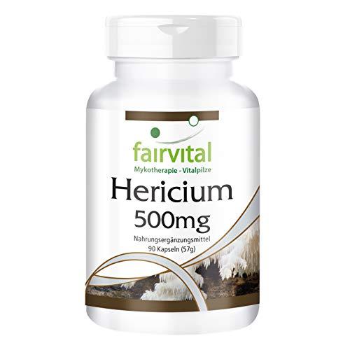 Hericium Kapseln - 500mg Igelstachelbart Pilzpulver pro Kapsel - HOCHDOSIERT - Hericium Erinaceus - VEGAN - 90 Kapseln