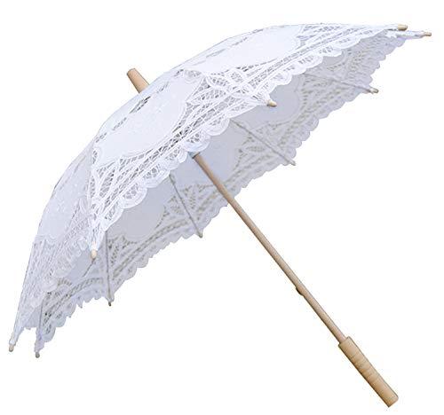 Sonnenschirm Spitze, Coofit vintage Regenschirm weißer Regenschirm Brautschirm Damen Regenschirm Hochzeit Gesticktes Cotton Vintage Sonnenschirm Hochzeit