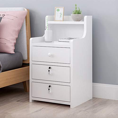 Simple End Table Bedroom Nightstand Coffee Table 3 Drawer with Lock Cabinet (White,US in Stock)