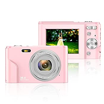 Digital Camera 2.4 Inch LCD Rechargeable HD Digital Camera Students Cameras Mini Camera 36 Mega Pixels with 16X Zoom for Adult Students Kids Beginners  Pink