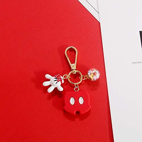 Neaer Keychain PVC Cartoon Figure Super Mario Trolls Key Chains Mini Anime KeyRing Mickey Minnie Fashion Cute Mickey's Head Keychains Key Ring (Color : 1)