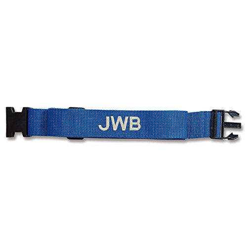 Personalized Blue Luggage Strap - 2'W woven strap adjusts from 35' to 64'L