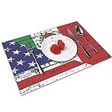Mantel de Comedor Decorativo Antideslizante Lavable con Banderas Mexicano-Americanas de Mezcla para decoración de Mesa de Comedor de Cocina, Juego de 4