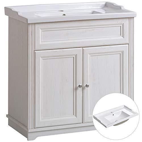 Lomadox Badmöbel Einzel Waschtisch mit Unterschrank 80cm mit Keramik-Waschbecken, Vintage Landhausstil, Pinie weiß