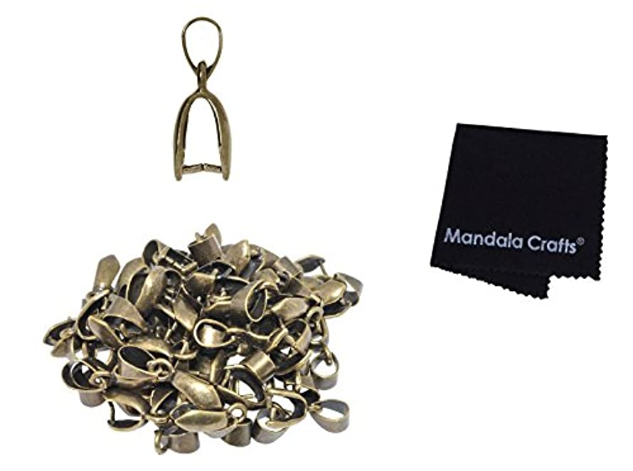Mandala Crafts Metal Pinch Bail, Pendant Connector, Dangle Charm Clasp Clip for Jewelry Making; 50 PCs Finding Kit (Antique Brass, 7 X 20mm)