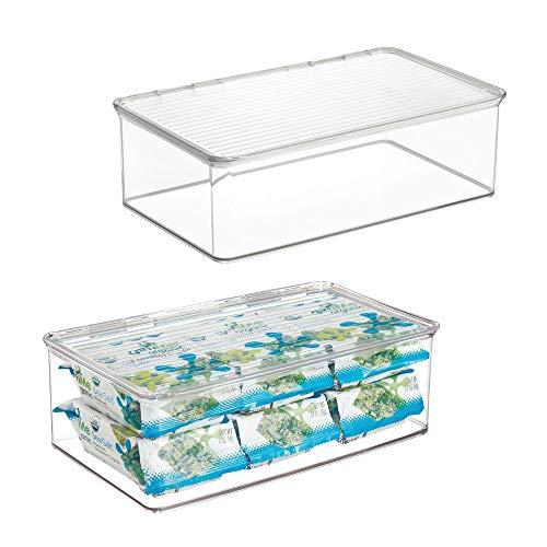 mDesign Juego de 2 cajas organizadoras con tapa – Cajas de almacenaje apilables de 3,1 litros para congelador o frigorífico – Accesorios de cocina de plástico para organizar alimentos – transparente