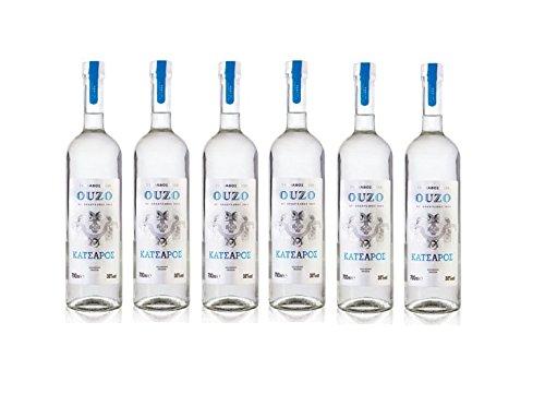6x 700ml Ouzo Tirnavou von Katsaros - griechischer Traditions Ouzo Tresterbrand Anis Schnaps Destillat 6er Set + 2x 10ml Olivenöl Probiersachet
