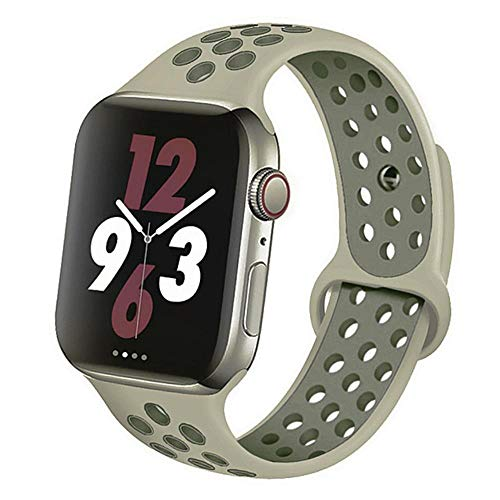 AIXIXI Correa Deportiva para Apple Watch Band 44Mm 42Mm para Iwatch Band 40Mm 38Mm Pulsera De Silicona Correa para Apple Watch 5 4 3, China, Niebla Vintage Lichen