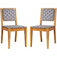 2-Set Amazon Brand Rivet Faux Leather Woven Dining Chair